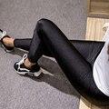 S-XXL Tallas grandes Mujeres Negro Brillante Legging Otoño Ladies Push Up Delgado Leggings Cintura Alta Elástica Suave de Gran Tamaño de Las Mujeres Legging