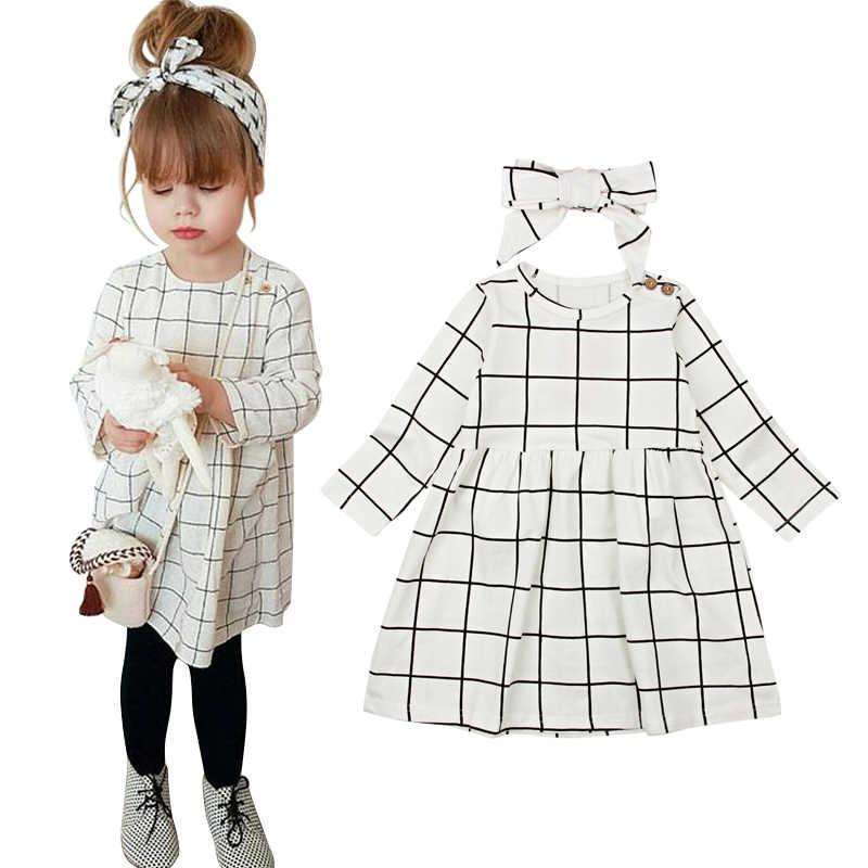 66803569151 Детские клетчатые платья для девочек Дети Новый Весенние платья для девочек  Длинные рукава Детские платья принцесс