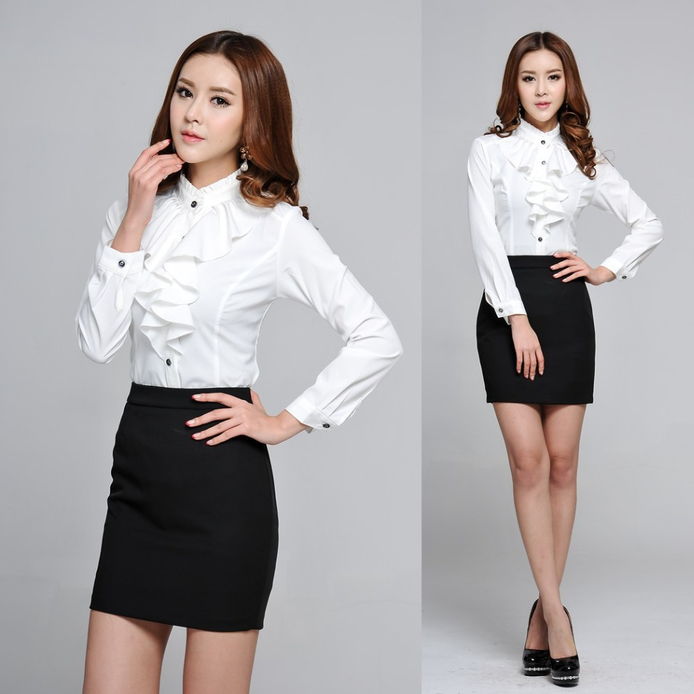 Online Get Cheap Office Uniforms for Women Blouse and Skirt ...