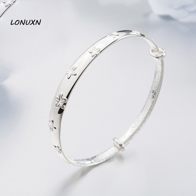 flowers Printed Size adjustable Bangle & Bracelet female pure Authentic 100% 990 Sterling Silver Luxury Jewelry girlfriend gift