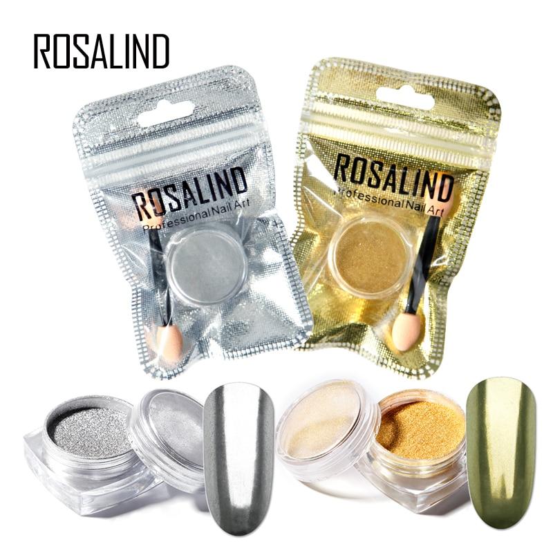 ROSALIND 1PCS Nail Mirror Effect Powder polishing for nails art Decoration Chrome Pigment Sequins gold/silver nail powder