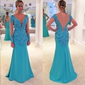 Sexy Deep V Neck Long Sleeves Blue Mermaid Prom Dress with Illusion Lace Back Formal Party Dress Custom Made