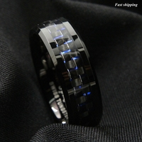 Queenwish Tungsten Ring 8mm Black Carbon Fiber Statement Bands Wedding V Ring Size 6 13