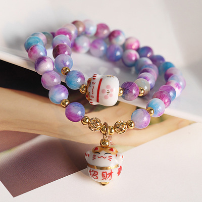 39fbe8095e44 Original Corea moda cristal natural colorido pulsera de piedra precioso  Maneki Neko cuentas encanto pulsera de color púrpura  3134 en Pulseras y  Brazaletes ...
