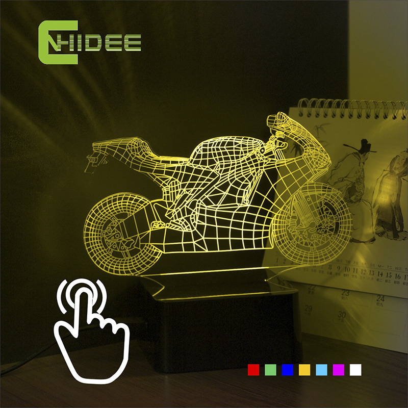 CNHIDEE Seven Colors Touch LED Light Motorcycle Table Lamp Changeable LED RGB NightLights for Christmas Atmosphere