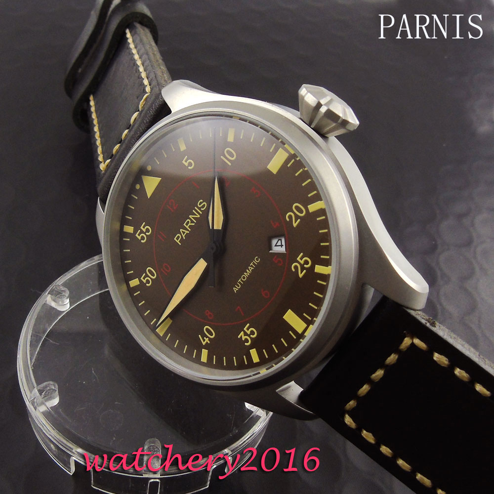 Fashion 47mm Parnis coffee dial yellow numbers miyota Automatic Men's business Watch 47mm parnis power reserve coffee dial brushed case yellow numbers automatic men s leather watch