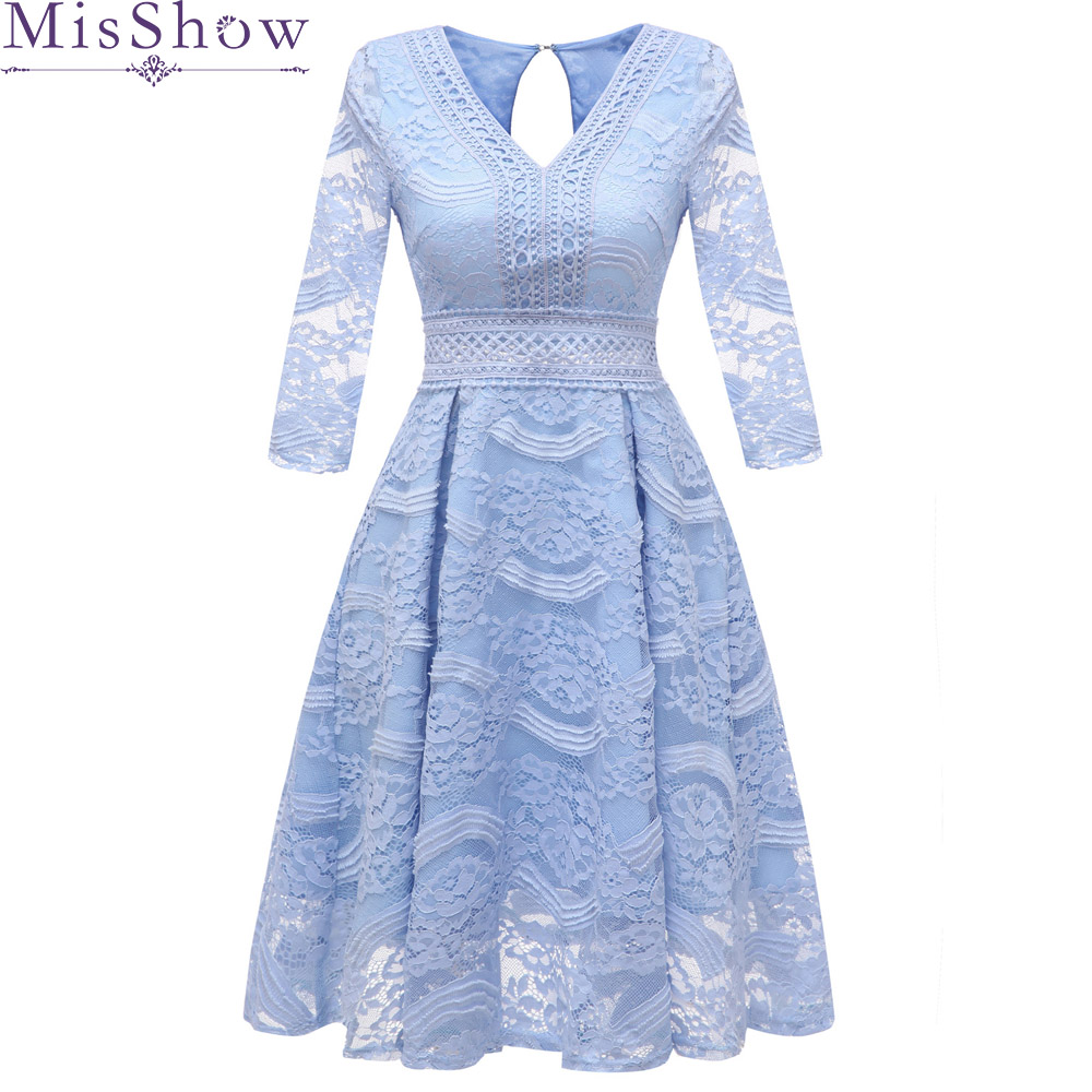 short   evening     dress   2019 Sleeve Backless   Dresses   Floral Lace Formal Party   Dress   Vestido De Festa blue homecoming prom   dresses