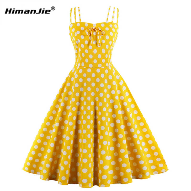 e107abde3509 Summer Women Hepburn Dresses yellow Retro Cotton Robe Vintage Dresses 50s  60s Rockabilly Pin Up Polka