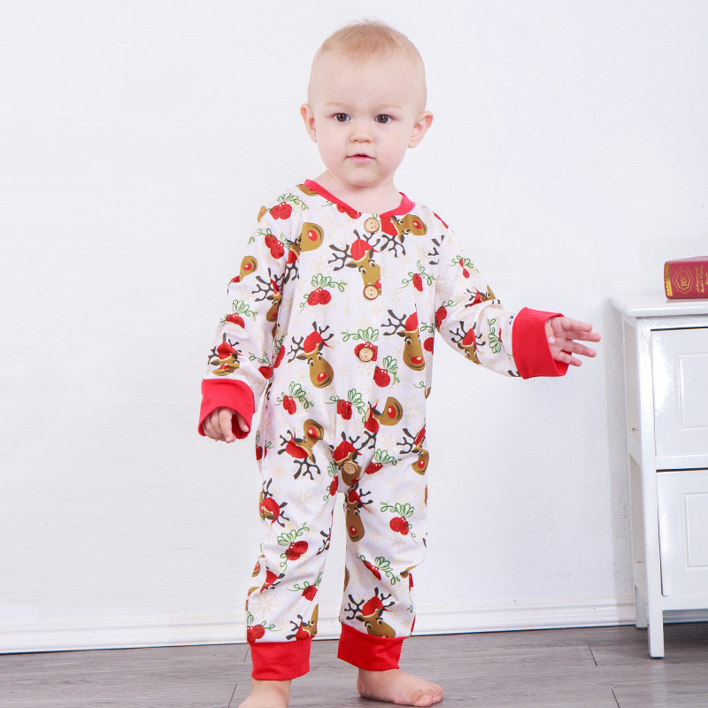 2018 baby christmas cute cartoon print baby jumpsuit christmas romper newborn christmas clothes long sleeve romper baby onesie