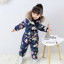 2019 Baby Boy Clothes Winter Real Fur Hood Children's Down Overalls Girls Onesies Jumpsuits Windproof Sport Snow Suits Rompers