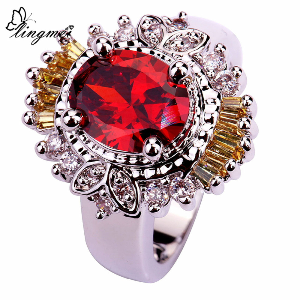 lingmei Gorgeous Lady Red Gold White CZ Silver Color Ring Size 7 Jewelry Finger Rings For Women Free Shipping Wholesale