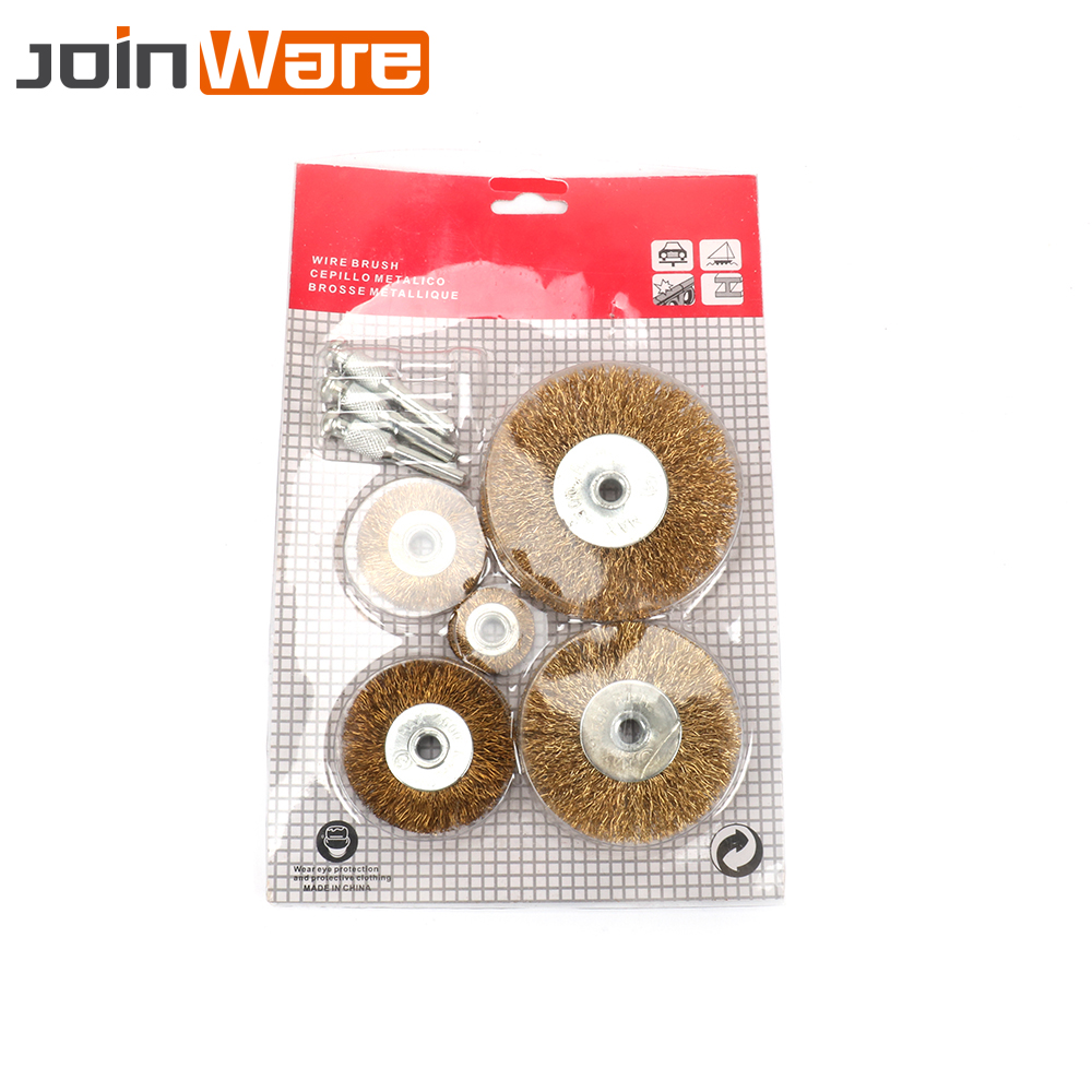 5Pcs Polishing Brush Wire Wheel Grinder Rotary Grinding Buffing Electric Abrasive Tools Stainless Steel Hole Dia 6mm New Brand