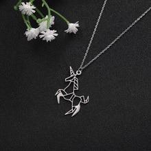 My Shape Eco-friendly stainless steel unicorn animal horse pattern decorative pendant necklaces long necklace