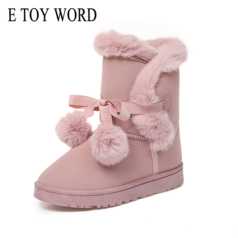 E TOY WORD Winter Pom Poms Flock Snow Boots Casual Slip On Warm Women Shoes Boots Suede Platform Shoes Woman Size 35-41 e toy word canvas shoes women han edition 2017 spring cowboy increased thick soles casual shoes female side zip jeans blue 35 40