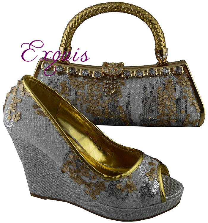 ФОТО Free Shipping By DHL!!!!2015 New arrival Ladies fashion african shoes with matching bags1308-L20.size 38-42 silver