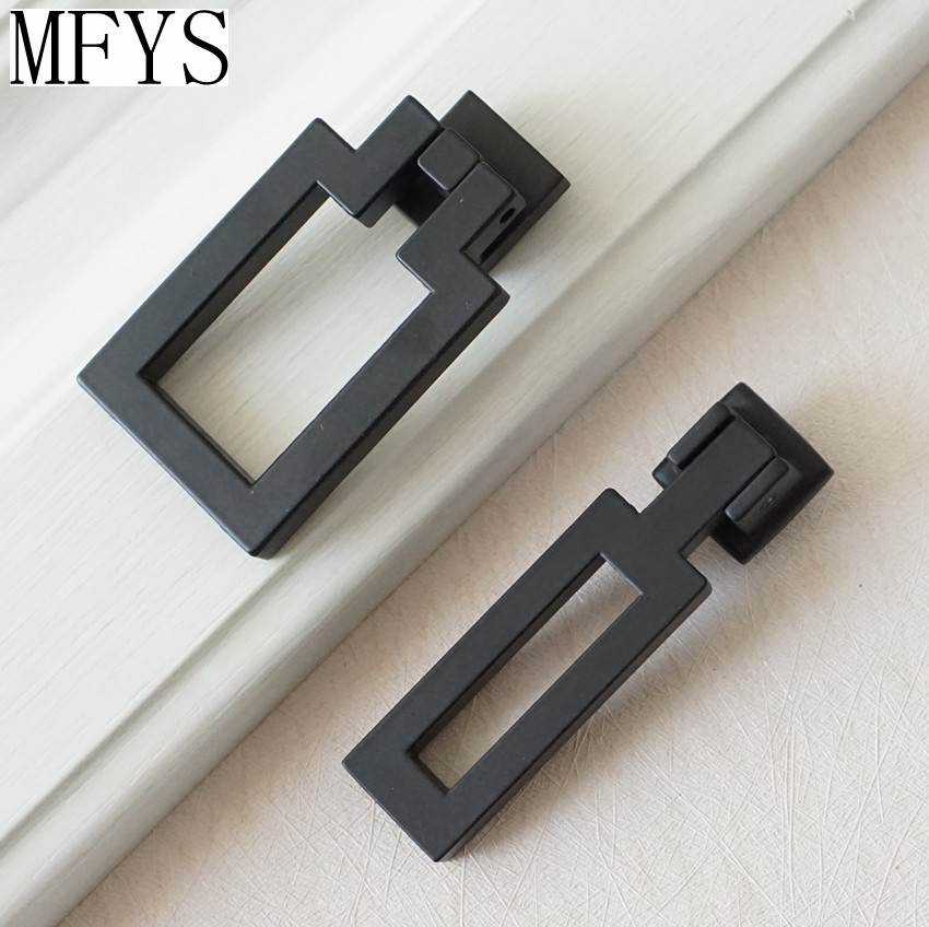 Modern Black Square Cabinet Handle Door Knob Dresser Knobs Drop Ring Drawer Pull Handles Drop Kitchen Cupboard Knobs 128mm modern simple black kitchen cabinet wardrobe door handle pull black drawer dresser cupboard furniture handles knobs 5