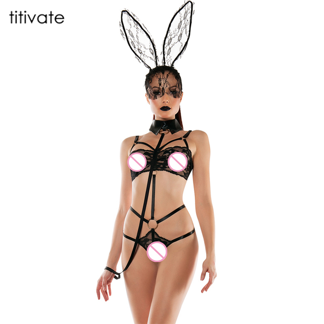 b6071f6b974 TITIVATE Sexy Lencería exótica lencería Sexy disfraz de conejo Cosplay Sexy ropa  interior de encaje conejo