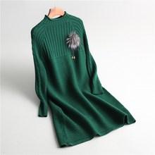 New Autumn Winter Loose Office Lady OL Long Sleeve Knitted Dress Chic Solid Wool Dress Women Warm Pullover Sweater Dress Vestido