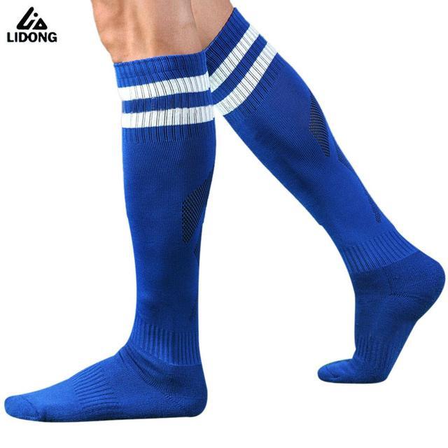 308c0a613 Hot Barreled Football Socks Kids Men Towel Bottom Striped Knee Stockings Long  Soccer Socks Absorbent Non-slip Sports Sox