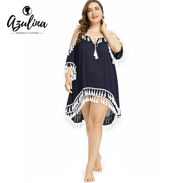 c03e69711e83a AZULINA Plus Size Women Cover Up Tassel High Low Beach Cover Up Tie Front  CoverUp Bell Sleeve Bodysuit Swimwear Beach Wear Tunic