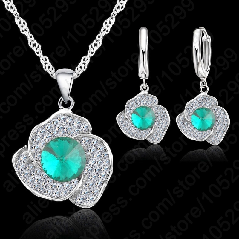 Clear Cubic Zircon Pendant  925 Sterling Silver Necklace/Earring Jewelry Set Women Wedding Jewelry Free Shipping