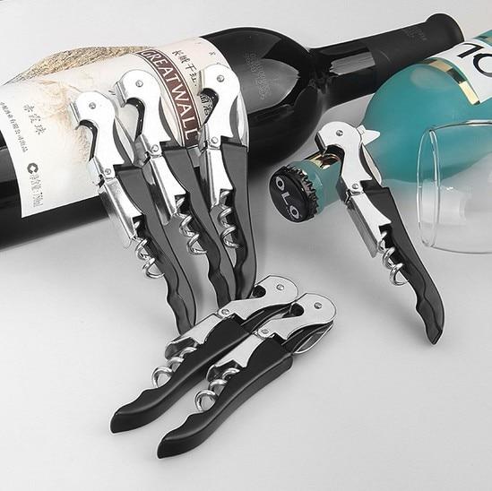1PC Professional Stainless Steel Wine Screw Corkscrew Double Hinge Waiters Bottle Opener Hippocampus Can Beer Opener KX 173