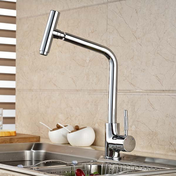 Creative Design Swivel Spout Chrome Brass Kitchen Faucet Single Handle Hole Vessel Sink Mixer Tap swivel spout antique brass kitchen faucet single ceramic handles mixer tap