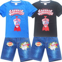 High Quality Baby Boy Clothes 2017 Captain Underpants Clothes Set For Boy T Shirt And Pants