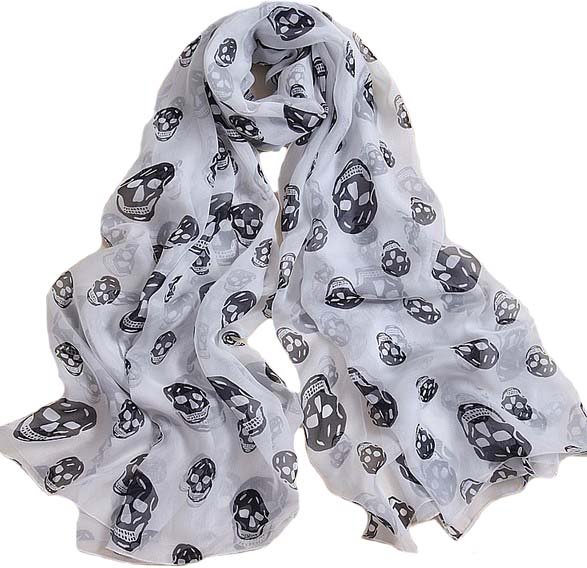 100% Natural Silk Luxury Brand Girl Large Scarf Shawl Printed White Black Skull Round Beach Cover Up Scarves And Shawls