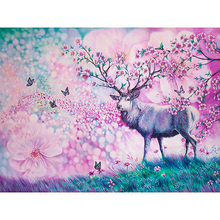 5D DIY Needlework Full Drill Round Diamond Embroidery Painting Sika Deer Flower Pattern Mosaic Stickers Cross Stitch