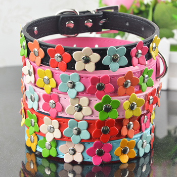 New Fashion PU Leather Dog Collar One Row Sun Flower Studded Small Dog Pet Teddy Necklace Collar