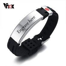 Vnox Бесплатная гравировка 15 мм Медицинский ID идентификации браслет для мужчин и женщин силиконовые часы из нержавеющей стали Группа Регулируемая