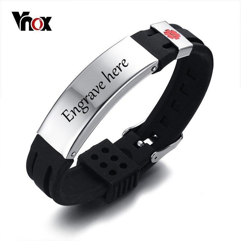 Vnox Kostenlose Gravur 15mm Medical Alert ID Identifikation Armband für Männer Frauen Silikon Edelstahl Uhrenarmband Einstellbar