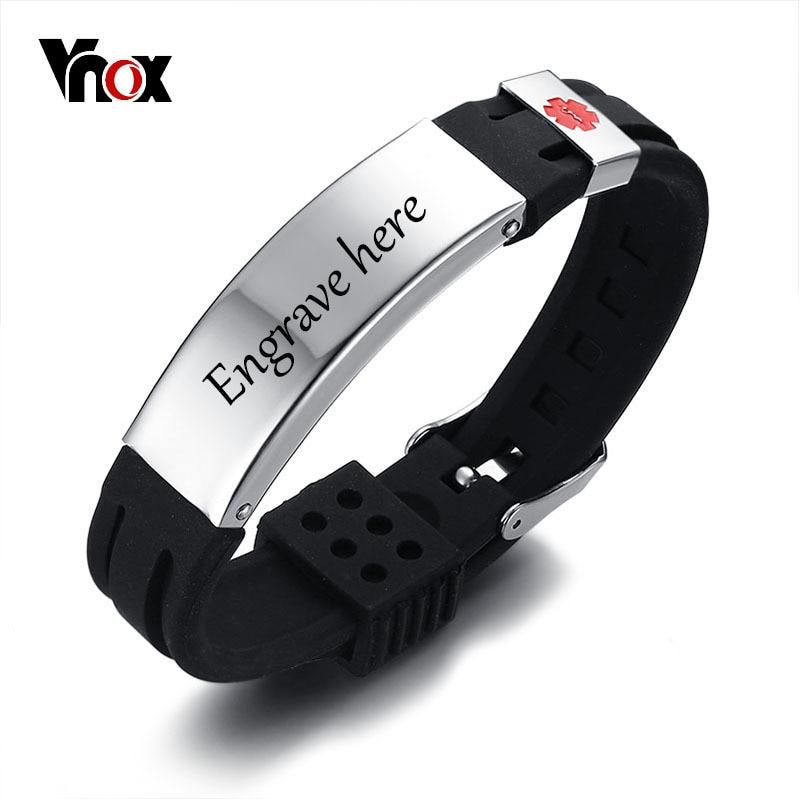 Vnox Livraison Gravure 15mm Alerte Médicale ID Identification Bracelet pour Hommes Femmes Silicone Montre En Acier Inoxydable Bande Réglable