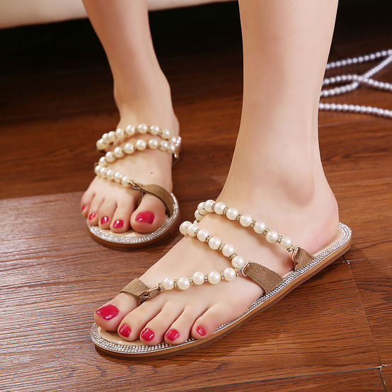 e67ac47f7 2014 Summer New Hot Flip Flops Pearl Rhinestone Women Flat Sandals Thong  Sunny Feet Wedding Sand Shoes Free Shipping S0059
