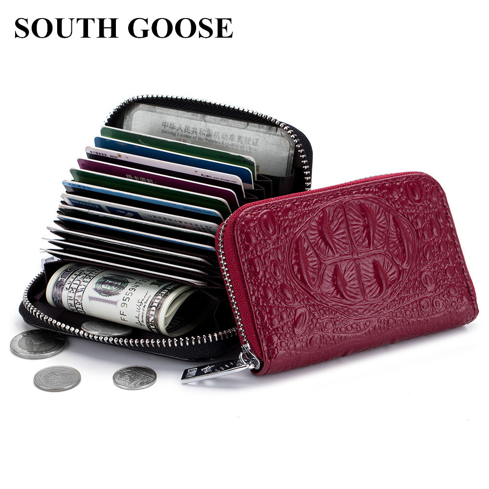 SOUTH GOOSE Organizer RFID Credit Card Holder Men Genuine Leather Business Card Case Women Travel Card Bag Coin PursesSOUTH GOOSE Organizer RFID Credit Card Holder Men Genuine Leather Business Card Case Women Travel Card Bag Coin Purses