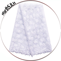 Dubai French Net Lace 2018 Grey Africa Lace High Quality Lace Fabric Aso Ebi Nigerian White Lace Fabrics For African Parties
