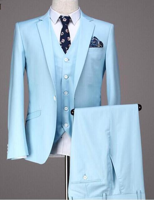 Latest Coat Pant Designs Light Blue Prom Men Suit Slim Fit 3 Piece ...