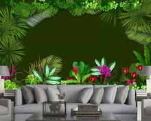 Beibehang Wallpaper mural small fresh plant flower TV background wall tropical rainforest living room bedroom 3d wallpaper mural beibehang southeast asia tropical rainforest leaves background wallpaper living room bedroom tv background mural 3d wallpaper
