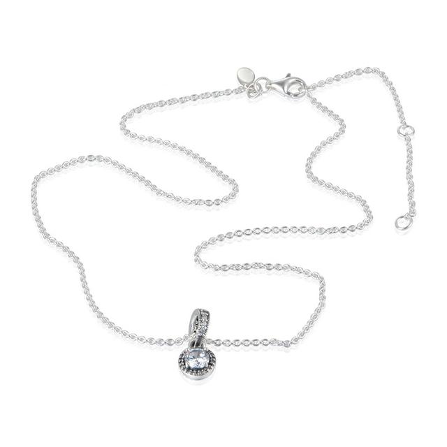 Joyería de moda Plata de ley--Elegancia Clásica de La Joyería Colgante de Collar para las mujeres 925 de Plata de Los Encantos Collares 45 CM