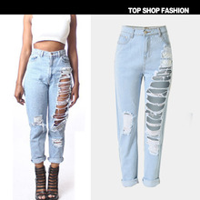 2017 new destroyed american attire all denim designer attractive ripped distressed Straight denims pants gap for ladies T-SL022