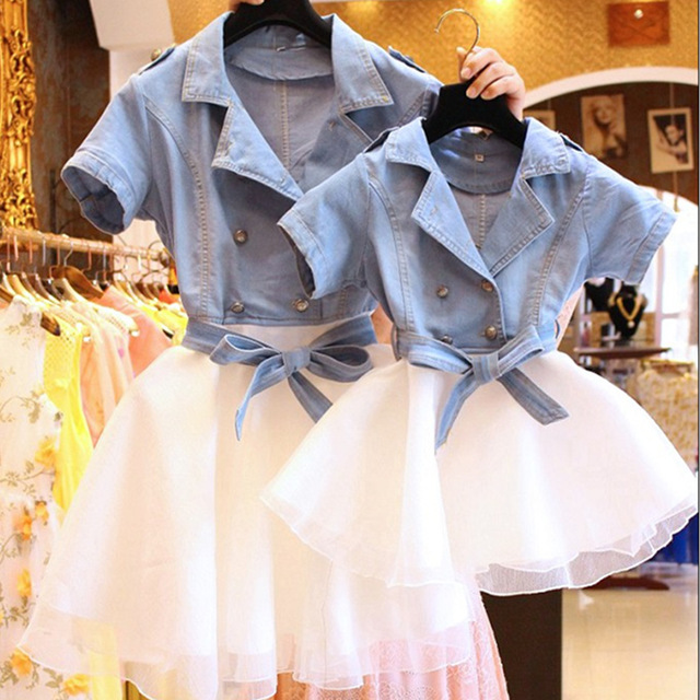 Parent-child outfit 2016 summer new mother and daughter  cowboy splicing veil double-breasted  dress