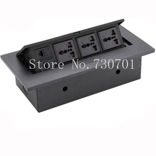 Universel trois inséré multifonctions de table français socket avec RJ45 noir/argent livraison gratuite