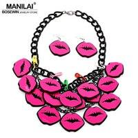 Manilai usa الكبير الأزياء الاكريليك لوحة الوردي الشفاه الأقراط سحر المجوهرات قلادة القلائد مطابقة مجموعة النساء الملحقات