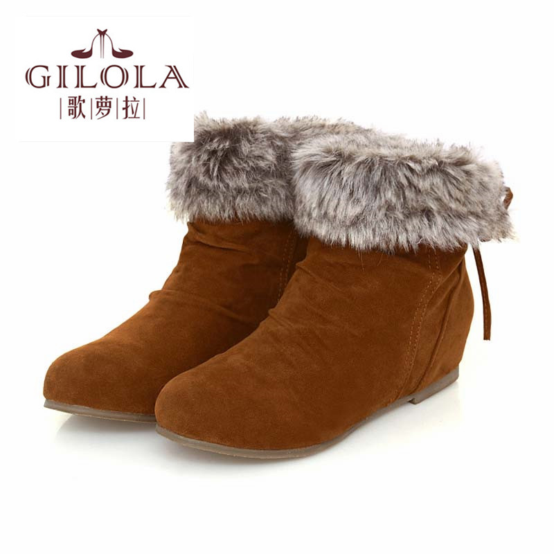 ФОТО size 34-43 new 2016 fashion flats fur inside women's ladies women boots shoes woman autumn winter boots best #Y1077401F
