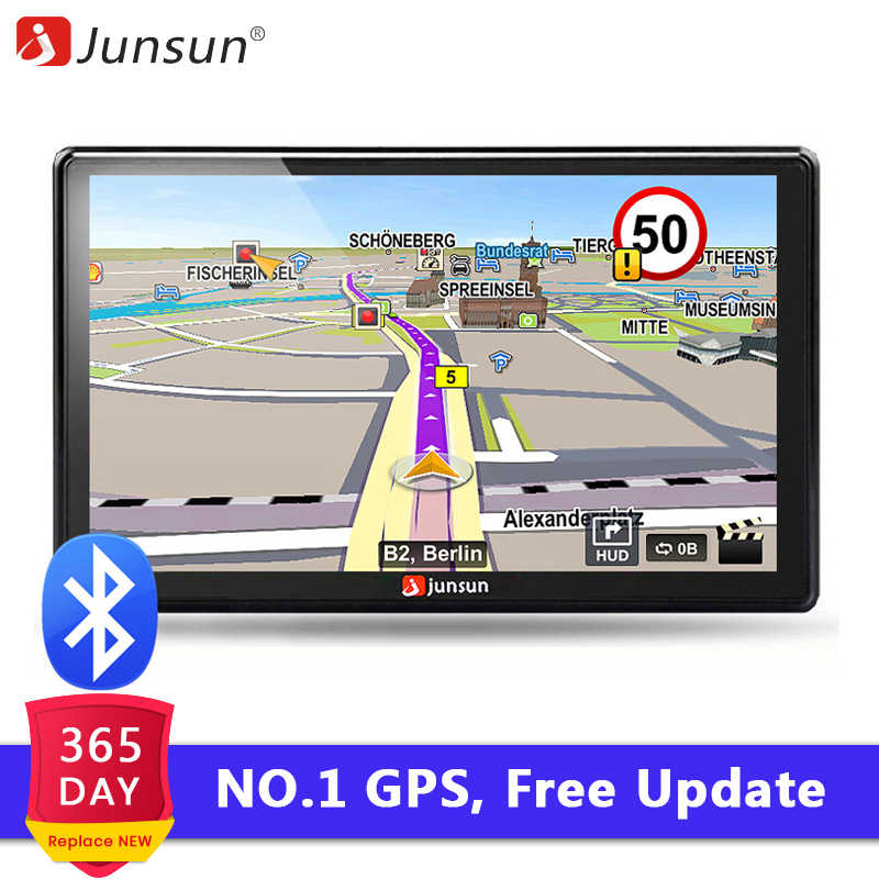 "Junsun D100 7"" HD Car GPS Navigation FM Bluetooth AVIN Navitel 2018 latest Europe Map Sat nav Truck gps navigators automobile"