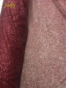 Wine red plaid cloth spots flash powder used in wedding dress fashion stage     Free shipping   stock  5yards/bag  CH134#
