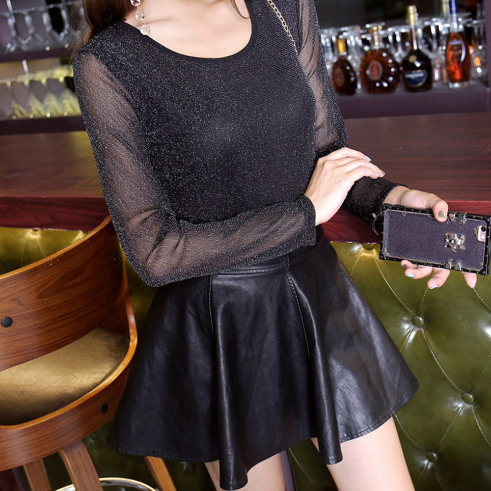 2018 Women Glitter Sheer Mesh Top New Women Long-Sleeve Casual Perspective Hollow Out Fe ...