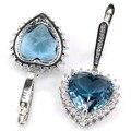 Coração longo London Blue Topaz, branco CZ Criado SheCrown Casamento Brincos de Prata 40x19mm