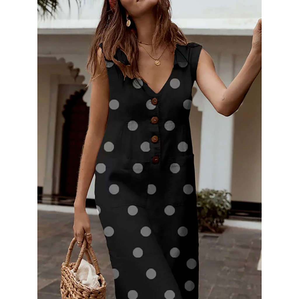 ALI shop ...  ... 33018870831 ... 2 ... Women's Elegant Polka-Dot Boho Mid-Calf Dress Turn-down V-neck Dress Button Pocket Summer Dress 2019 Dress #0516 ...